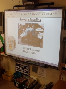A chart on the Smart Board to support routines and behaviors during independent reading time